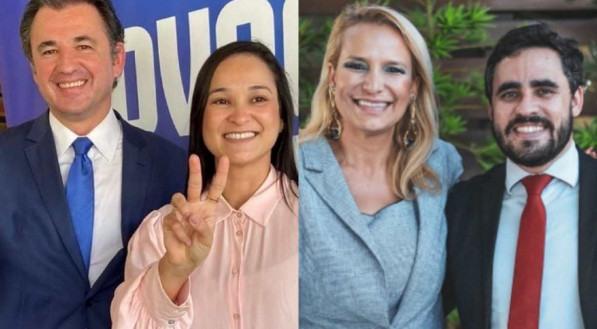 Na imagem da esquerda, Fernando Ribeiro Lins e Ingrid Zanella (Advocacia mais Unida; na imagem da direita, Almir Reis e Fernanda Resende (Renova OAB)