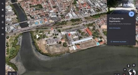 O depósito de suprimentos do Exército hoje funciona como uma espécie de barreira contra a ocupação irregular das margens do rio Capibaribe